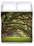 Avenue Of Oaks - Charleston Sc Plantation Live Oak Trees Forest Landscape Duvet Cover