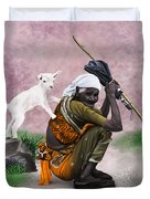 Awesome Village Woman Realistic Painting Duvet Cover