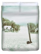 Axe In Snow Scene Duvet Cover