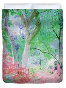 Azalea Flowers And Tree Coral  Duvet Cover