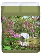 Azaleas And Bridge In Magnolia Lagoon Duvet Cover