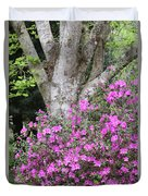 Azaleas With Tree Duvet Cover