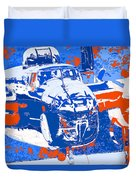 B-25 Blue Red  Duvet Cover