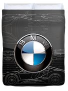 B M W  3 D  Badge Over B M W I8 Silver Blueprint On Black Special Edition Duvet Cover