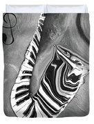 Piano Keys In A Saxophone B/w - Music In Motion Duvet Cover