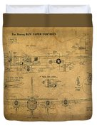 B29 Superfortress Military Plane World War Two Schematic Patent Drawing On Worn Distressed Canvas Duvet Cover