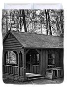 Babcock State Park Cabin - Paint Bw Duvet Cover