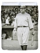 Babe Ruth Going To Bat Duvet Cover