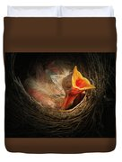 Baby Bird In The Nest With Mouth Open Duvet Cover