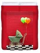 Baby Buggy With Red Wall Duvet Cover