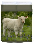 Baby Calf With Bluebonnets Duvet Cover