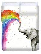 Baby Elephant Spraying Rainbow Duvet Cover