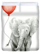 Baby Elephant Watercolor Red Balloon Duvet Cover