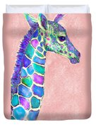 Baby Giraffe Pink And Purple Duvet Cover