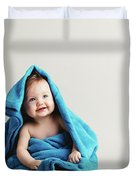 Baby Girl Covered With A Blue Warm Blanket Duvet Cover