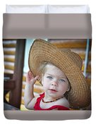 Baby Girl Wearing Straw Hat Duvet Cover