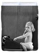 Baby Girl With Adding Machine, C.1940s Duvet Cover