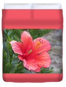 Baby Grasshopper On Hibiscus Flower Duvet Cover