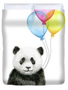Baby Panda Watercolor With Balloons Duvet Cover