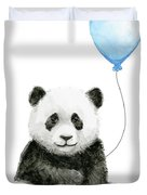 Baby Panda With Blue Balloon Watercolor Duvet Cover