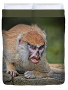 Baby Patas Monkey On Guard  Duvet Cover