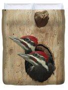 Baby Pileated Woodpeckers Peer Duvet Cover