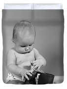 Baby Taking Money From Wallet, C.1960s Duvet Cover