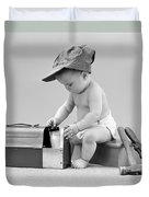 Baby With Work Tools And Lunch Pail Duvet Cover