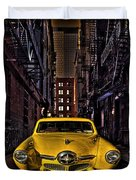 Back Alley Taxi Cab Duvet Cover