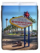 R.i.p. Back Of The Welcome To Downtown Las Vegas Sign Day Duvet Cover