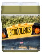 Back To School Bus Watercolor Duvet Cover