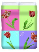 Background With Tulips Duvet Cover