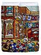 Backlane Snowy Winter Scene Hockey Game Verdun Alley Montreal Team Jerseys Canadian Art Duvet Cover