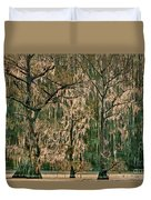 Backlit Moss-covered Trees Caddo Lake Texas Duvet Cover