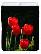 Backlit Red Tulips Duvet Cover