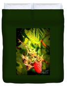 Backyard Garden Series - One Ripe Raspberry Duvet Cover