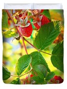 Backyard Garden Series - Sunlight On Raspberries Duvet Cover