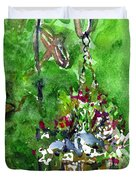 Backyard Hanging Plant Duvet Cover