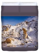 Badlands Hoodoo In The Snow Duvet Cover