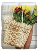 Bag With A Bouquet Of Tulips Duvet Cover