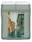 Bagnoregio Street In The Rain Duvet Cover