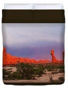Balance Rock At Sunset, Arches National Park, Utah Usa Duvet Cover