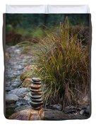 Balancing Zen Stones In Countryside River V Duvet Cover
