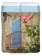 Balcony And Roses Duvet Cover