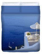 Balcony Over The Sea Duvet Cover by Joana Kruse