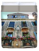 Balcony With Flowers In Venice, Italy Duvet Cover