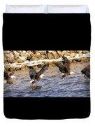 Bald Eagle Fishing Pano Duvet Cover