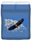 Bald Eagle In Flight Calling Out Duvet Cover