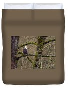 Bald Eagle On Mossy Branch Duvet Cover