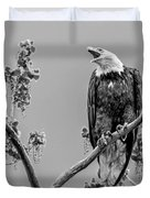 Bald Eagle Warning In Black And White Duvet Cover